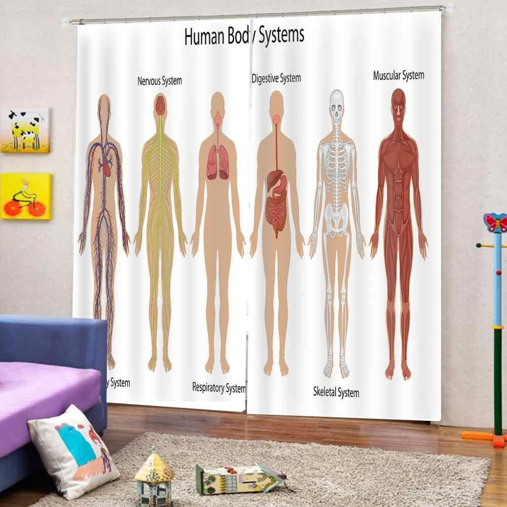 Menselijke Anatomie Douchegordijn Vintage Grafiek van Body Voor Back Skelet en Spier Systeem Bone Massa Grafische Gordijnen