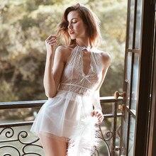 Damskie całkowicie koronkowe Hollow pasy Halter bez pleców bielizna nocna seksowna śpiąca koszula nocna podwójna chusta erotyczna bielizna sukienka wieczorowa