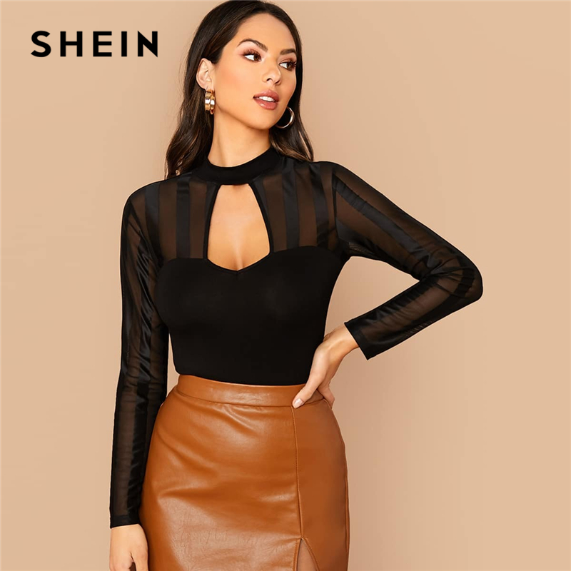 SHEIN Black Peekaboo Front Sheer Mesh Insert Top Women Spring Keyhole Neckline Long Sleeve Solid Party Sexy Sheer T-shirts
