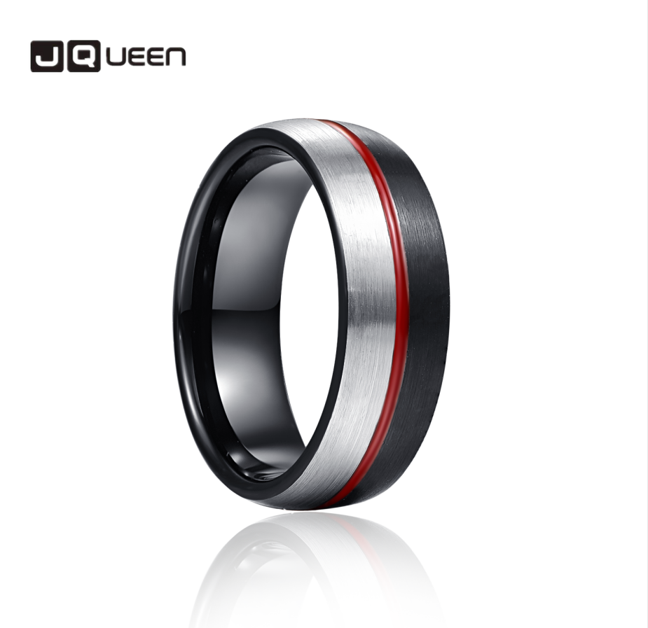 JQueen 8mm Black Steel Red Glue Tungsten Carbide Ring Wedding Band for Men Comfort Fit Rings Engagement Jewelry