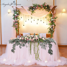 1.8M Willow Leaf Table Flower Runner Artificial Flower Green Plants Vine Garland Flower Row Home Decor Wedding Table Centerpiece