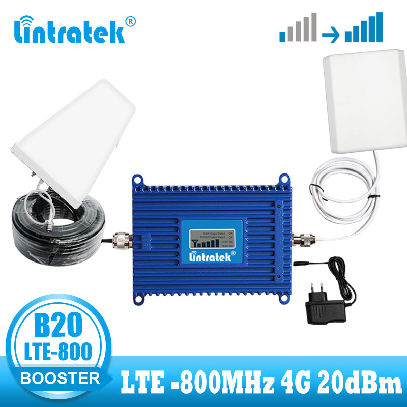 Lintratek LTE 4G Signal Booster Mobile Cell Phone 4g 800mhz Signal Repeater Band 20 LTE 800 Internet Network