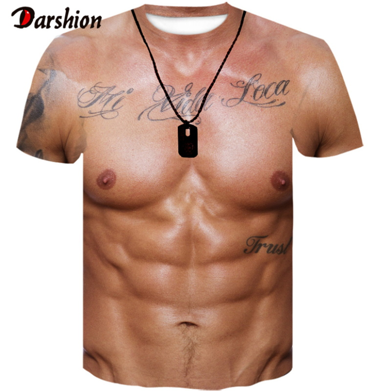 For Man 3D T-Shirt Bodybuilding Simulated Muscle Tattoo Tshirt Casual Nude Skin Chest Muscle Tee Shirt Funny Short-Sleeve O-neck