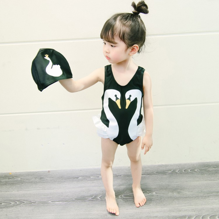 Baby Girls Summer Wear Swan Swimming Suit Sexy One-piece Swimming Suit 2019 Summer Children Swimwear
