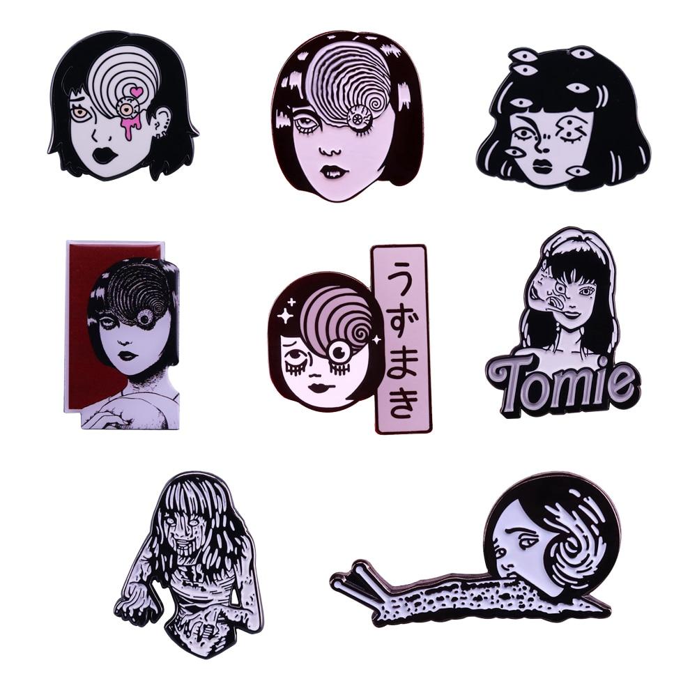 Uzumaki junji ito enamel pin Japanese Horror Character Lapel pin Goru Eyeball Manga Anime Jewelry(China)