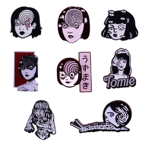 Uzumaki junji ito enamel pin Japanese Horror Character Lapel pin Goru Eyeball Manga Anime Jewelry