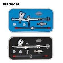Nasedal NT 180T/NT 130T כפול פעולה תרסיס אקדח 0.2/0.3/0.5mm 9cc/7cc הכבידה להאכיל airbrush ערכת סט עבור אמנות קרפט דגם גוף נייל