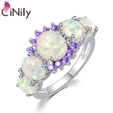 CiNily 5 Colors Luxe Fire Opal Ring Silver Plated Oval Round Stone Finger Ring Blue Full