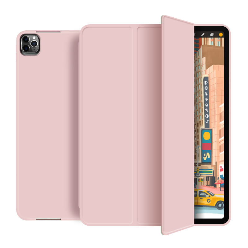 Pink Gray For New iPad pro 12 9 inch 2020 Smart case Tri fold soft bracket cover for