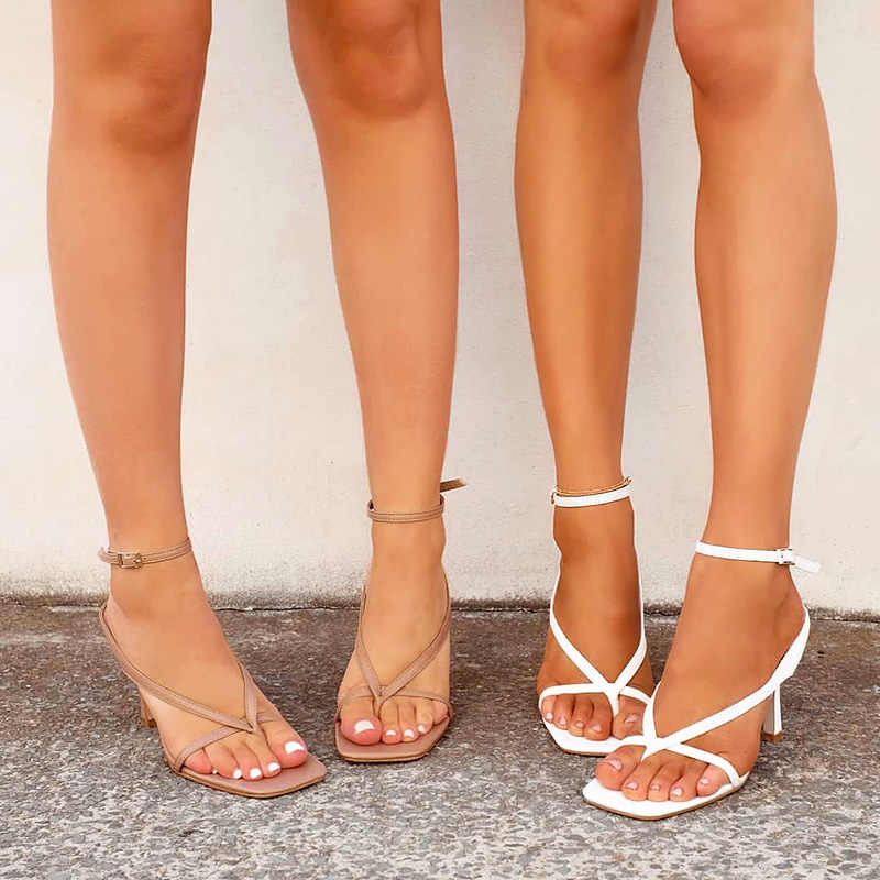 DEleventh yaz 2020 kadın seksi bomba kare ayak yüksek topuklu ayakkabılar ayak sıkma Stiletto yüksek topuklu