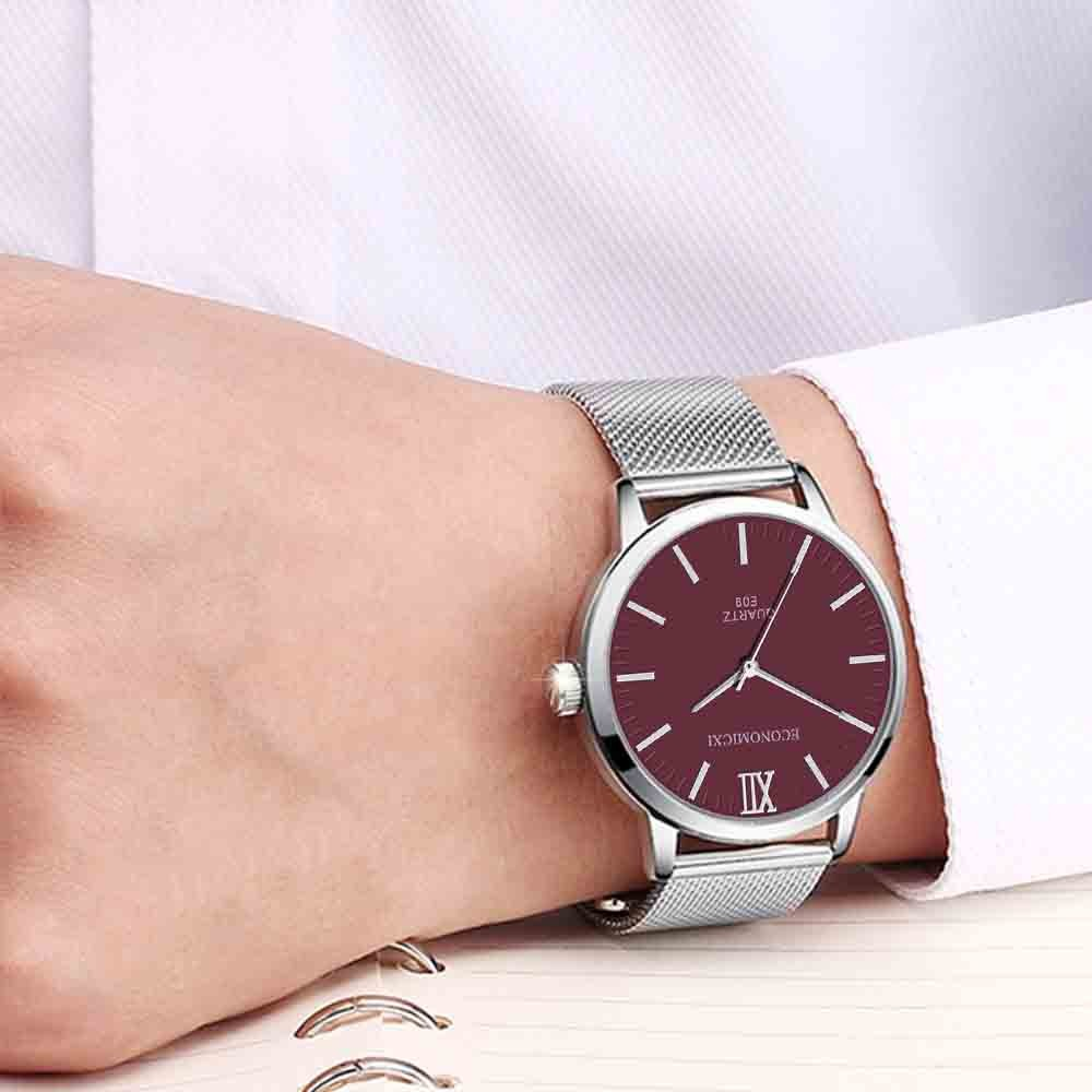 Men's Simple Fashion Personality Mesh Belt Stainless Steel Quartz Watch Watch часы мужские