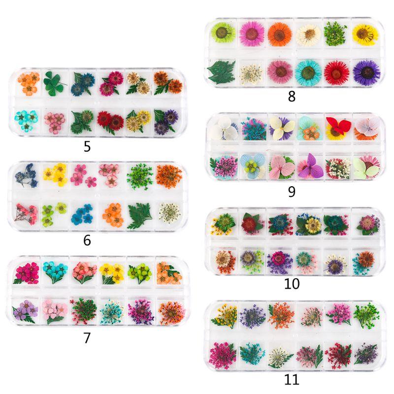 12Grid/Box Crystal Epoxy Filler Dry Flower Mixed Nail Stickers Decoration Resin Filling Material Craft Art Jewelry DIY Making
