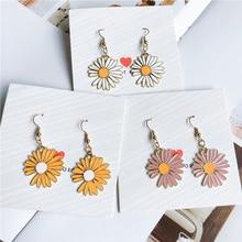 New Fashion Daisy Flower Drop Earrings for Women Jewelry Pink White Color Sweet Girl Gift Korean Style Hook Earrings недорого