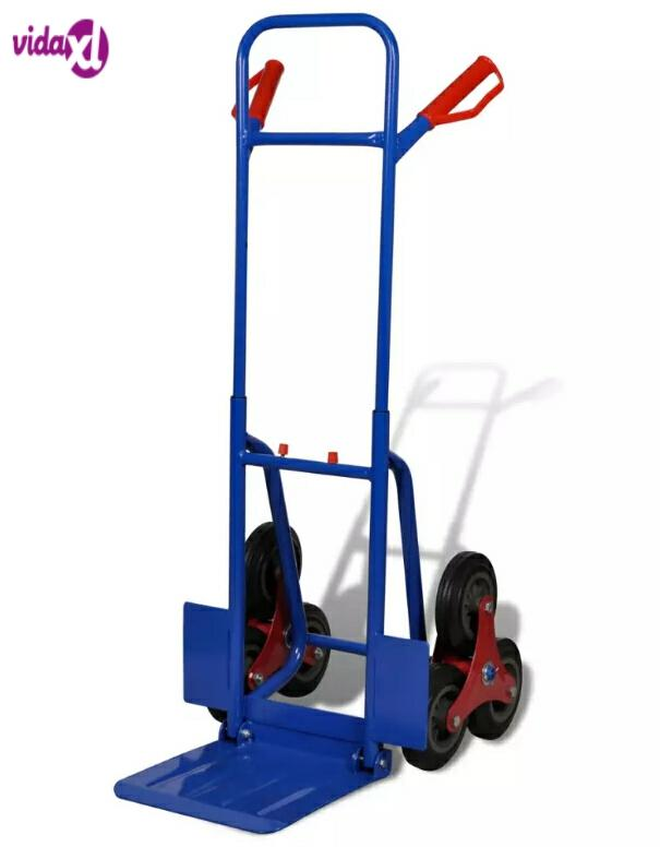 6-Wheel Blue-Red Sack Truck With 150 Kg Capacity Hand Cart Wheel Trolley Heavy Duty Barrow Metal Handcart Kitchen Trolleys V3