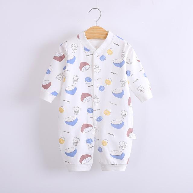 Noworodek Romper 2021 wiosenny i jesienny nowy czesana bawełna jasnoniebieska wiewiórka szyszki sosnowe drukowanie pajacyki śpioszki dla niemowląt 0-12 miesięcy tanie i dobre opinie COTTON CN (pochodzenie) Unisex W wieku 0-6m 7-12m Drukuj baby V-neck Pojedyncze piersi Pełna Baby Romper Pasuje prawda na wymiar weź swój normalny rozmiar