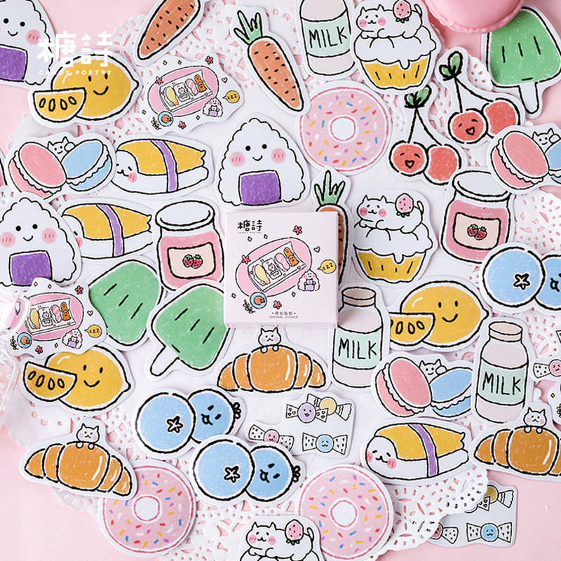 45 Pcs/Box Momo Cute Delicious Pocket Snacks Mini Decoration Paper Sticker Decoration DIY Album Diary Scrapbooking Label Sticker