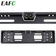 Europejski numer samochodu ramka do tablicy rejestracyjnej kamera tylna 4 diody led Night Vision rewers Backup kamera cofania z trybem parkingowym Cam akcesorium samochodowe