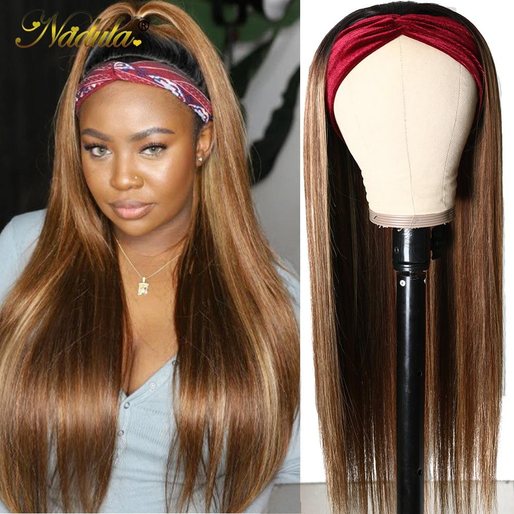 Nadula Highlight Straight Hair with Dark Roots Headband Wig  Honey Blonde Color Straight Hair Headband Wigs for Women 2