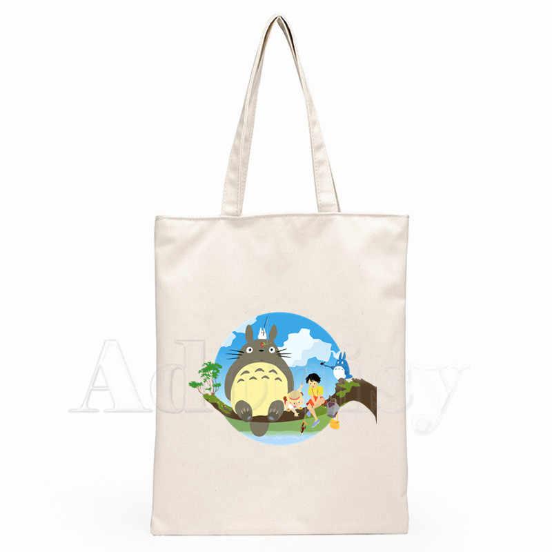 Totoro Dames Handtassen Doek Canvas Draagtas Winkelen Reizen Vrouwen Eco Herbruikbare Schouder Shopper Tassen Bolsas De Tela