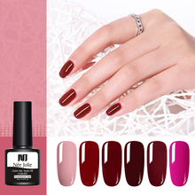 NEE JOLIE 8ml Pure Nail Color Gel Polish Red Series One-shot Soak Off UV Art Varnish Lacqure 12 Colors
