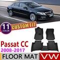 Кожаные автомобильные коврики на заказ для Volkswagen VW Passat CC 2008 ~ 2017  5 мест  коврик для ног  аксессуары для ковров  2009  2010  2011  2012  2013