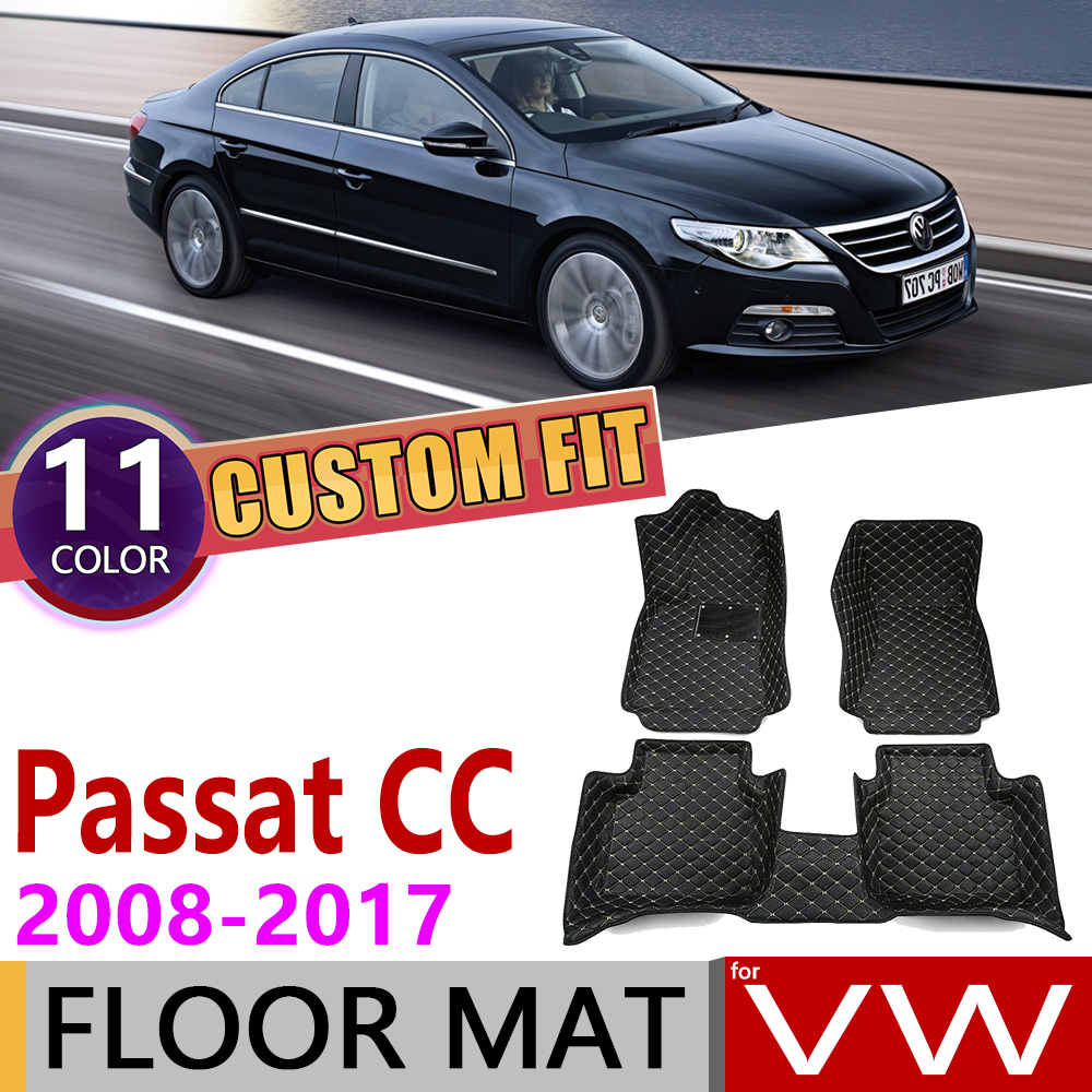 Custom Car Leather Floor Mats For Volkswagen VW Passat CC 2008~2017 5 Seats Foot Pad Carpet Accessories 2009 2010 2011 2012 2013