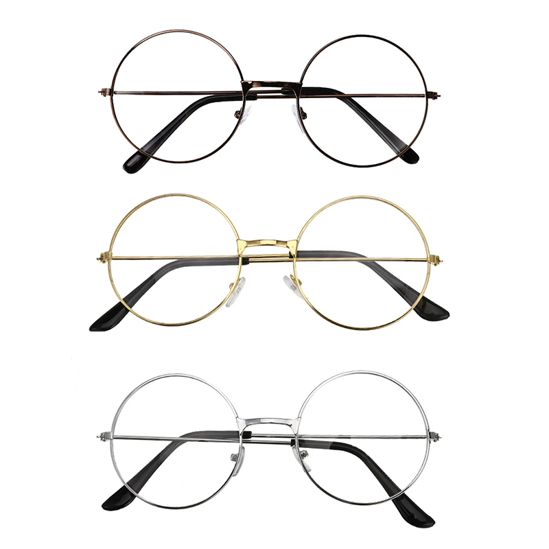 3 Colors Unisex Retro Round Circle Metal Frame Eyeglasses Vintage Round Reading Glasses Clear Lens Eye Glasses Frames