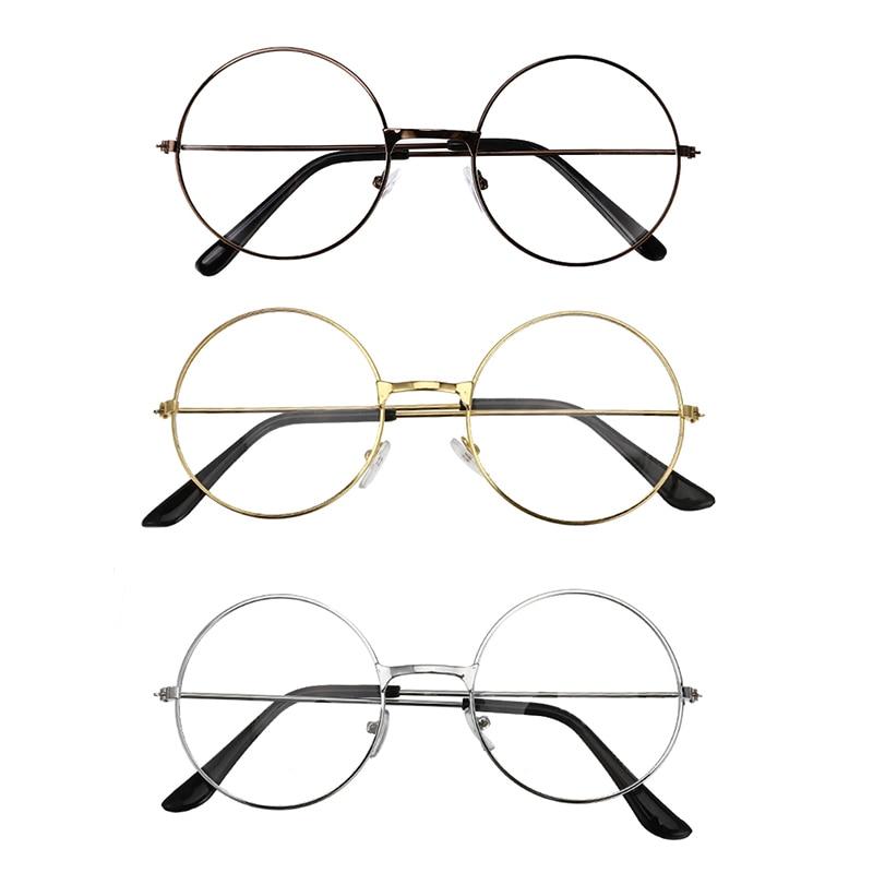 3 Colors Unisex Retro Round Circle Metal Frame Eyeglasses Vintage Round Reading Glasses Clear Lens Eye Glasses Frames