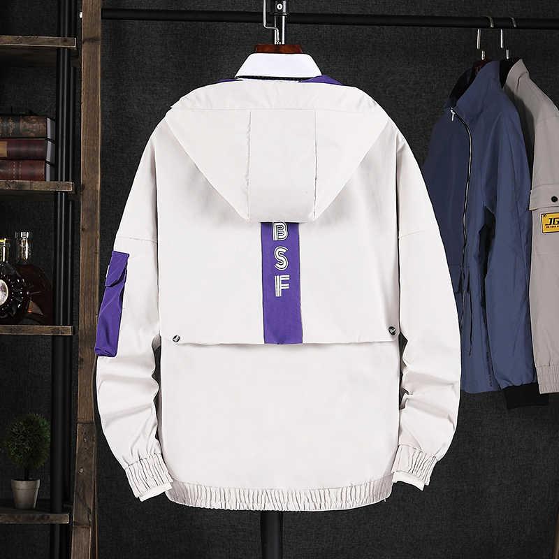秋のファッションの男性ジャケットフード付き襟カジュアル生き抜く韓国スタイルストリートヒップホップジャケット男性サファリ貨物コート制服