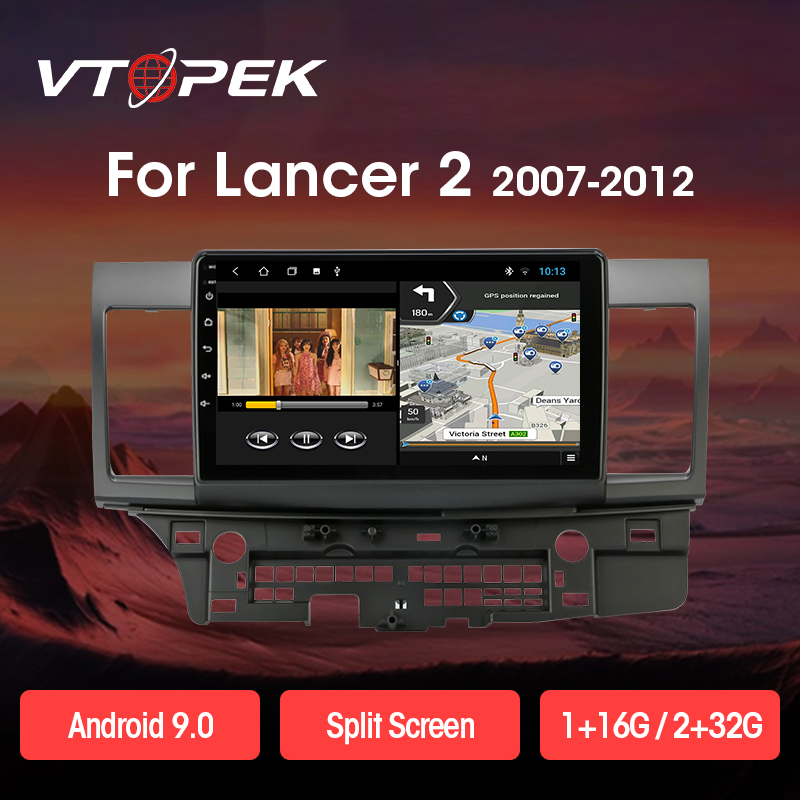 Vtopek 2din 2 + 32G Android 9,0 T3L PLUS <font><b>Auto</b></font>-Multimedia-Player für Mitsubishi Lancer 2007-2012 Navigation <font><b>GPS</b></font> <font><b>Auto</b></font> Radio 2 Din image