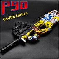 Pistola de juguete eléctrica P90 para niños, juguete de pistola de agua con Graffiti, mármol, automática, de asalto, CS, regalos