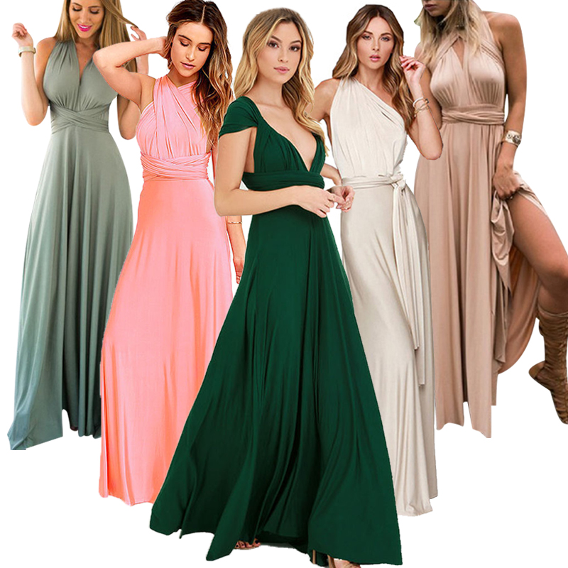 New Wedding Bridesmaid Party Wear More Open Back Sexy Bandage Long Dress Elegant Women's Eucharist Party Open Back Long Dress
