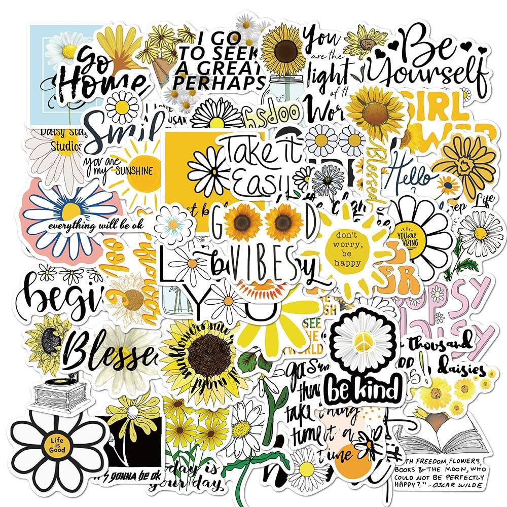 10 Вт, 30 Вт, 50 шт. цветы ромашки граффити Стикеры s вдохновляющие цитаты наклейки для Скрапбукинг чемодан велосипед гитарная наклейка Стикеры ...