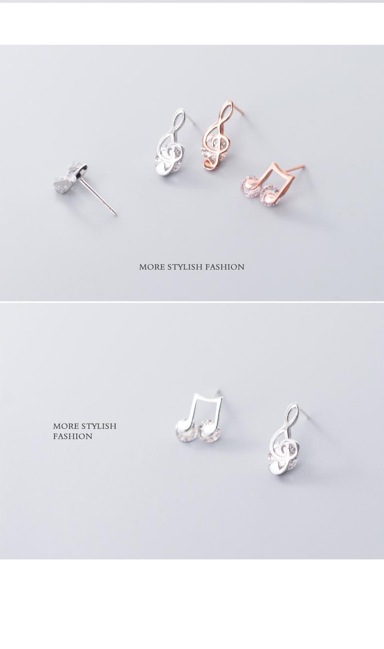 925 Sterling Silver Asymmetric Music Notes Earrings