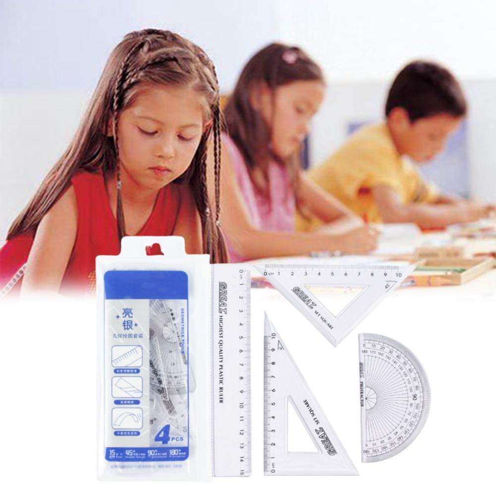 1 Set Ruler Of Student Ruler Four Piece Set 100% Brand Suitable New The Material Product For Students Is Plastic Z0Z7