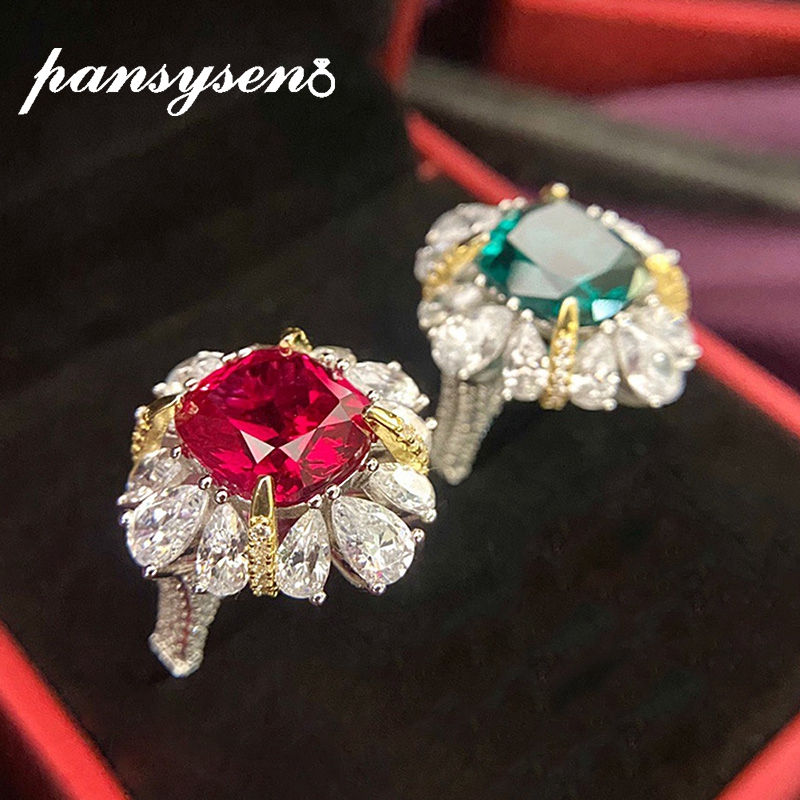 PANSYSEN 8ct Emerald Ruby Simulate Moissanite Gemstone Solid Silver 925 Jewelry Finger Rings for Women Anniversary Party Ring