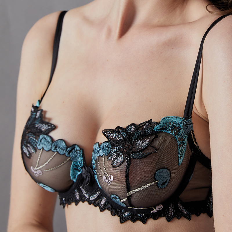 Lilymoda 2018 Sexy Ultra Thin Transparent Bra Erotic Women Underwear Cherry Embroidery Floral Lace Temptation Lingerie Barssiere