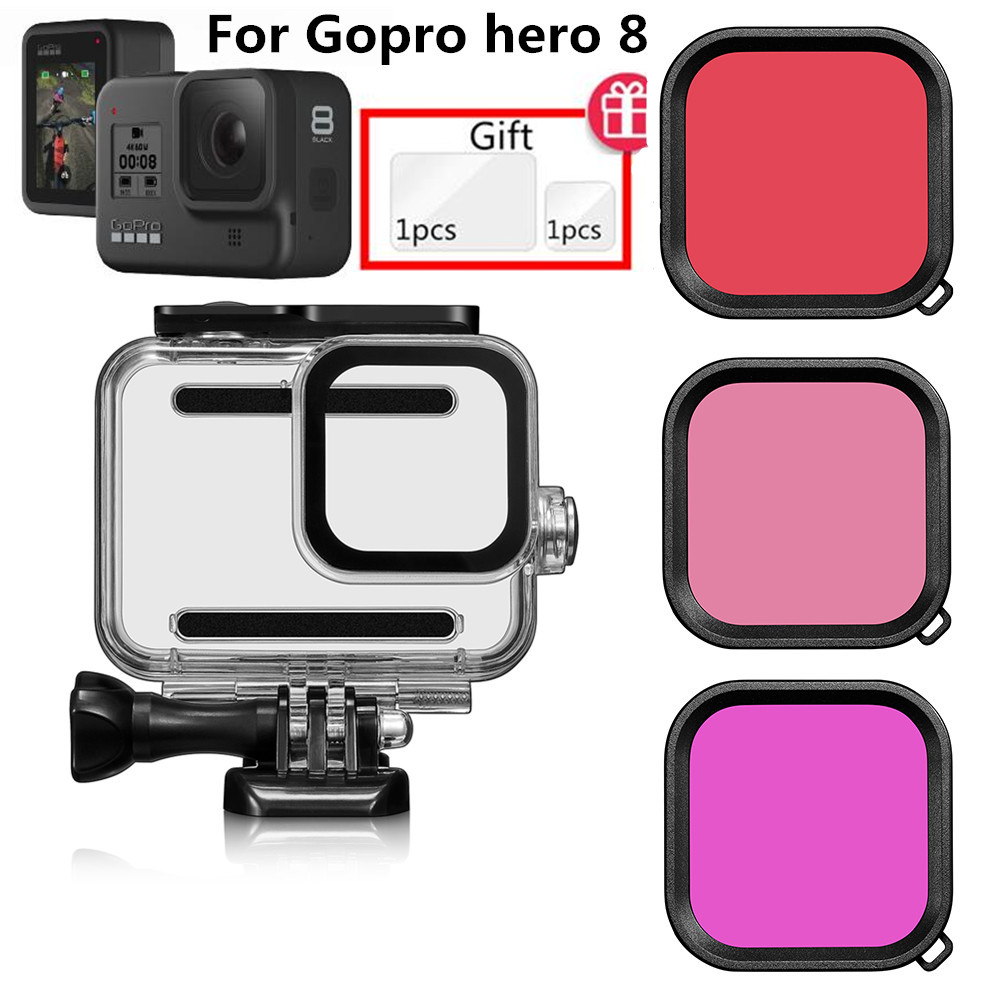 Suptig 60m Underwater Waterproof Housing Case for GoPro Hero 8 Black Camera Accessories Mount Protective Shell Filter Lens