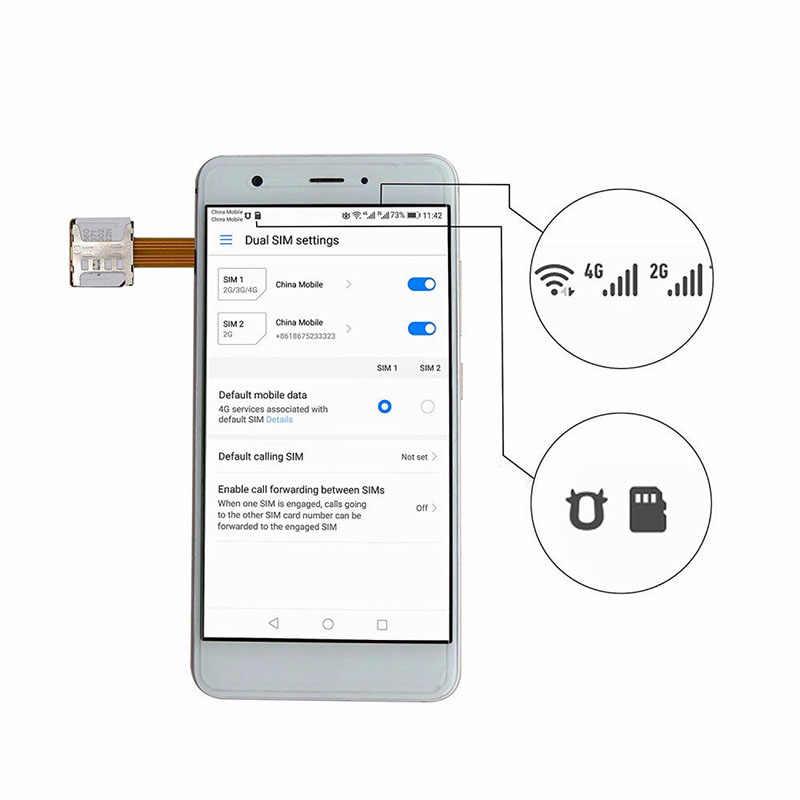 כרטיס Extender כפולה ה-SIM מתאם הארכת כבל חריץ עמיד עבור טלפון נייד אנדרואיד PR מכירה