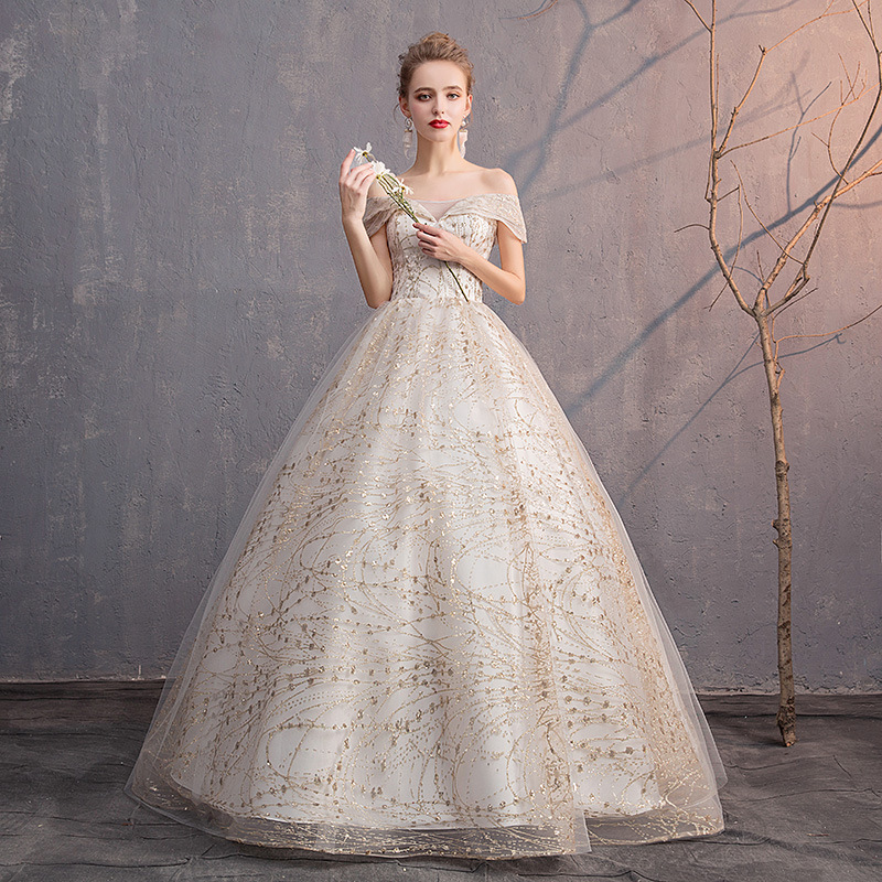 Luxury Gold Wedding Dresses V-Neck Off The Shoulder Lace Up Ball Gown Elegant Dubai Wedding Gowns For Bride Vestido Novia 2020