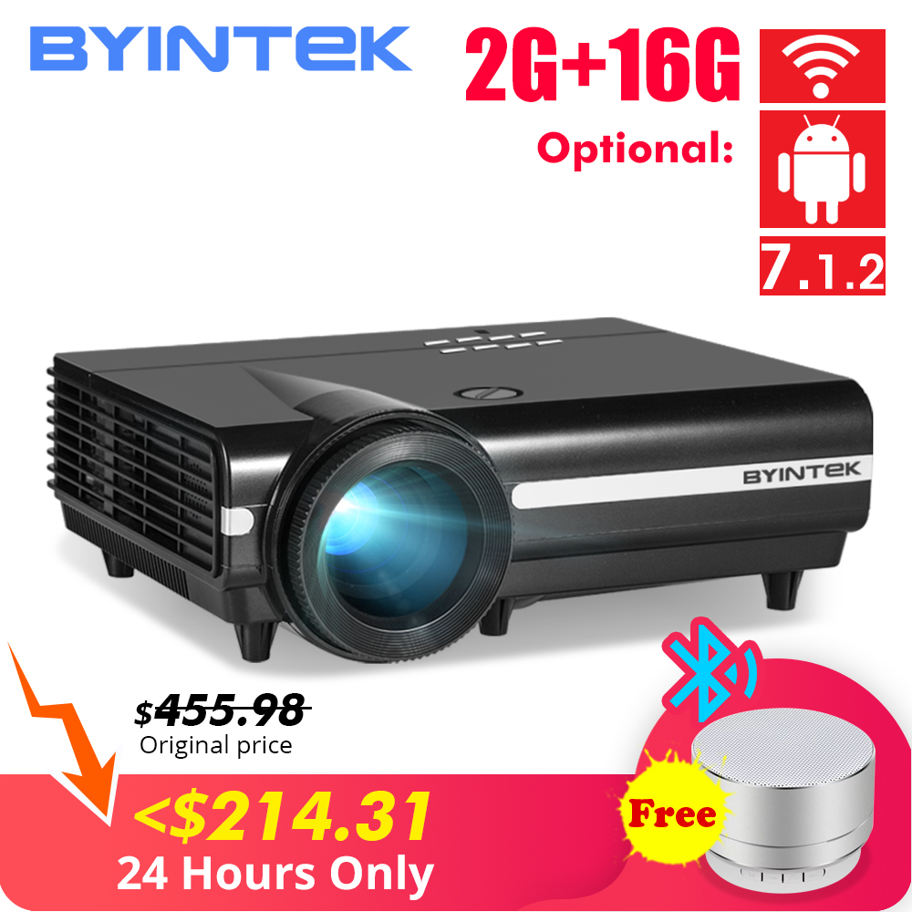 BYINTEK MOON BT96Plus Android Wifi Smart Video 1080P LED Projector For Full HD Home Theater Support 4K Video For Netflix