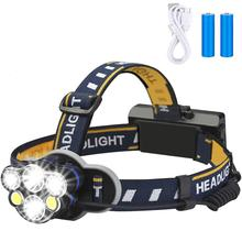 LEADLY 5/6/7/8 LED Headlamp Portable USB Rechargeable Camping Head Lamp XML-T6+COB Fishing Headlights Flashlight Headlamp Torch portable zooming xml t6 led headlamp waterproof zoom fishing headlights camping hiking flashlight with usb cable