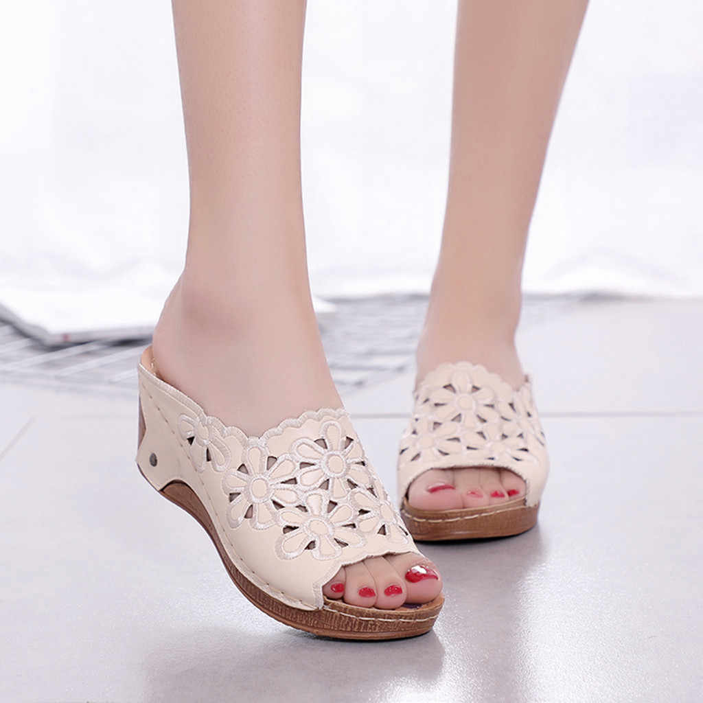 Slippers Women Platforms Shoes Fashion Casual Hollow Out High Heels Thick Summer Non-slip Lightweight Outside Casual Slippers