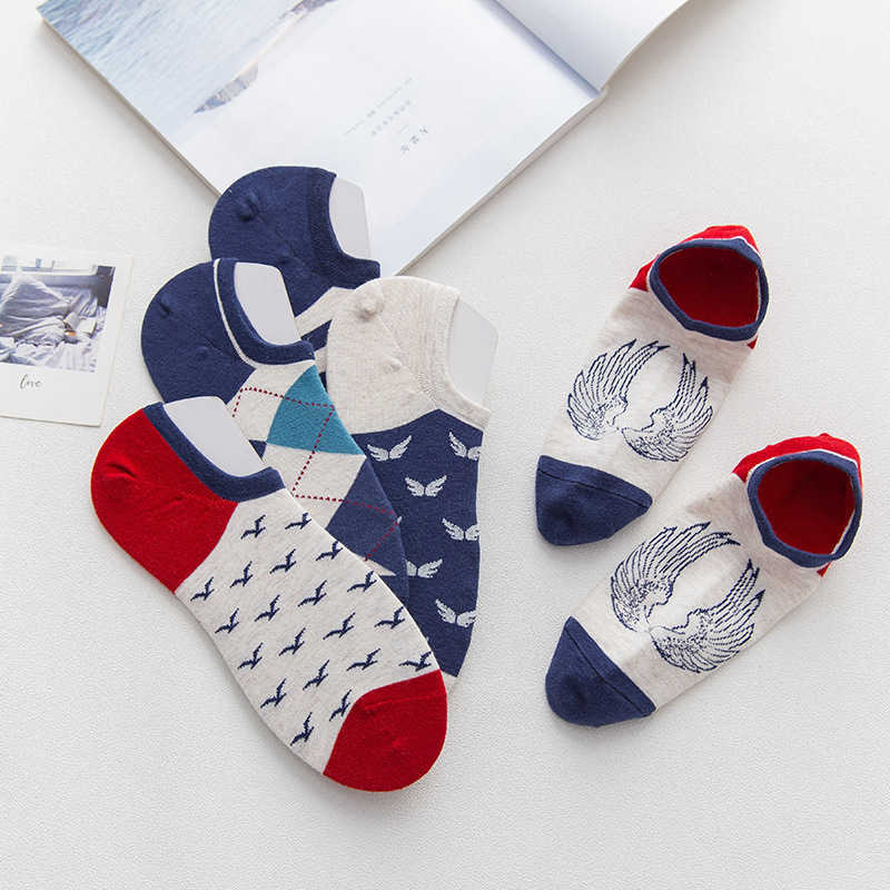Sock Slippers Men Summer Color England Men Socks Print Invisible NO SHOW Socks Male Cotton High Quality Happy Socks