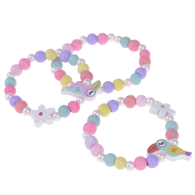 3Pcs Candy Color Children's Wood Bracelet Elastic Toy Hand Strap Lovely Kids Children Wood Bead Bracelets Birthday Party Gift