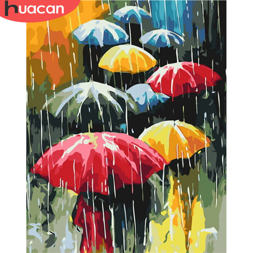 HUACAN DIY Oil Painting Rain Scenery Pictures By Numbers Landscape Kits Drawing Canvas HandPainted Umbrella Home Decor