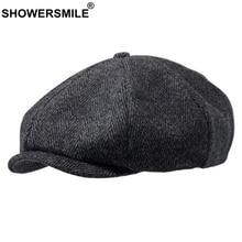 Бренд SHOWERSMILE, Шерстяная кепка Newsboy s, мужская серая кепка в елочку, плоская кепка s, женская кепка кофейного цвета в британском стиле Гэтсби, осенне-зимние шерстяные шляпы