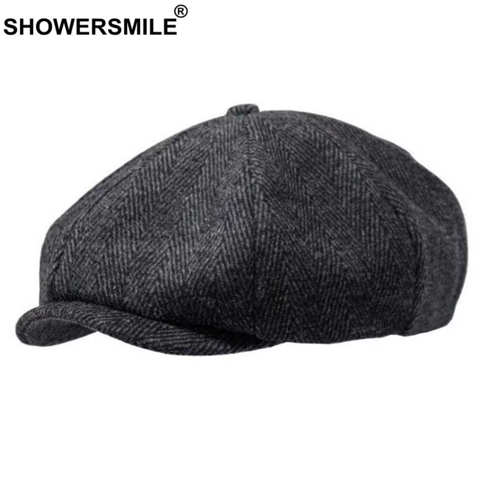 SHOWERSMILE Brand Wool Newsboy Caps Men Grey Herringbone Flat Caps Women Coffee British Gatsby Cap Autumn Winter Woolen Hats