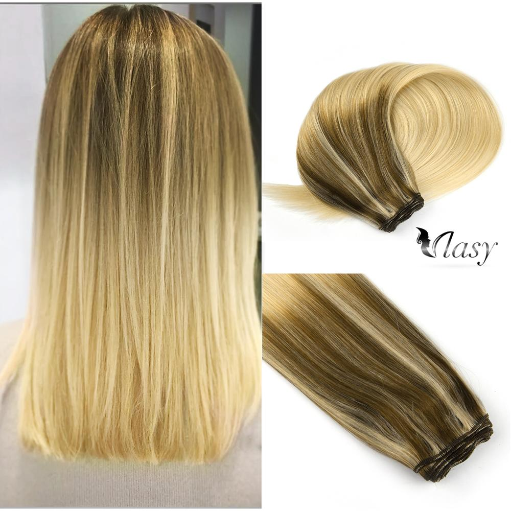 Vlasy 22'' Double Drawn Human Hair Weft 100g Remy Hair Bundles Weave Newest Balayage Color Milkshake & Cinnamon Salon Style
