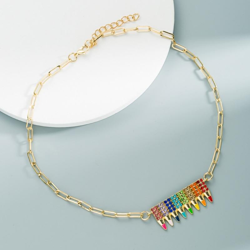 Модная эмалированная цепочка с радужными кристаллами, милая карандашная цепочка, золотое ожерелье с подвеской для женщин и девушек вечерни...